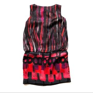Milly NY Silk Geometric Blouson Shift Dress